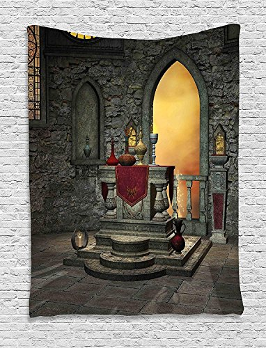 XHFITCLtd Gothic Tapestry, Ancient Altar Holy Table in the Castle Baroque Era Alchemy Wizard Design, Wall Hanging for Bedroom Living Room Dorm, 40 W X 60 L Inches, Reseda Green Mustard by XHFITCLtd