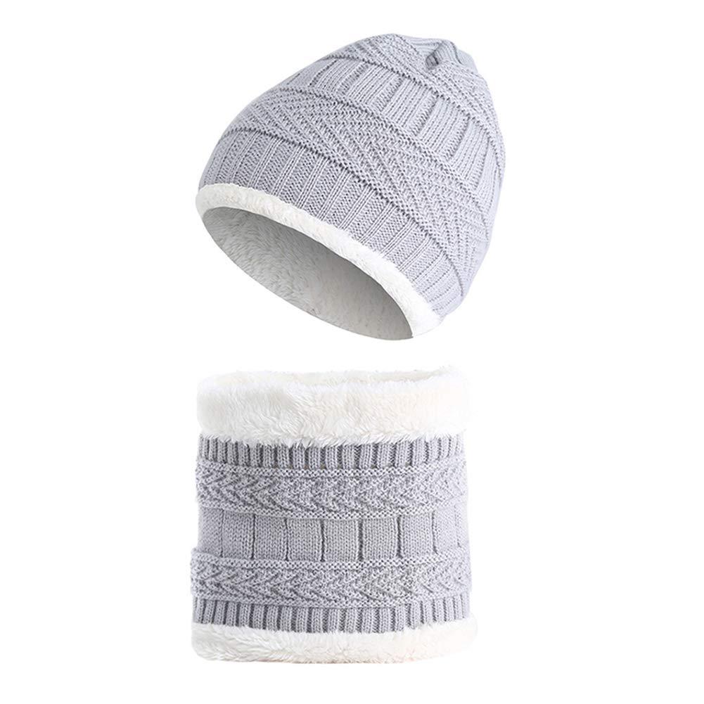 Chytaii Pack Cappello Sciarpa Scaldacollo in Maglia con Peluche Bambini Due Pezzi Inverno Abbigliamento Accessori Tenere Caldo Esterno Beige Beige 19 * 19cm