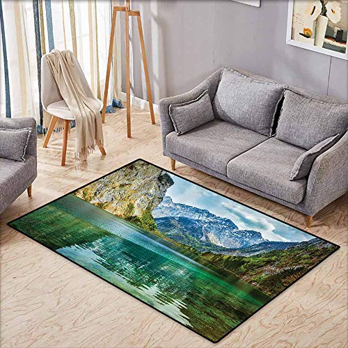 Outdoor Patio Rug,Lakehouse Decor Collection,Serenity of Obersee Mountain Lake in a Valley of Alps Bavaria Germany with Small Forest Scene,Anti-Slip Doormat Footpad Machine Washable,3'11