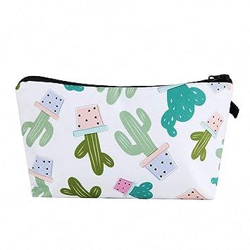 66ff1eadba4c Amazon.com : Cactus Print Travel Makeup Bag Large Capacity Portable ...