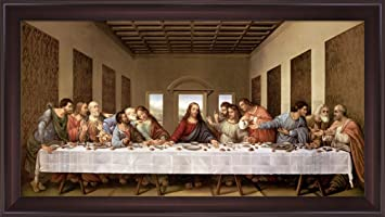 the last supper by leonardo da vinci framed art print wall picture wide cherry frame