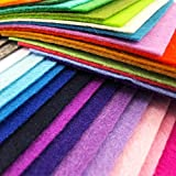 AiMay 50pcs Felt Fabric Pack Felt Squares Sheets for DIY Craft Assorted Colors 1mm Thickness (20cm x 30cm)