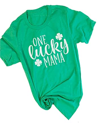 502e53e9d Amazon.com: Women One Lucky Mama Letter Funny T-Shirt ST. Patrick's Day Mama  Gift Shirt: Clothing