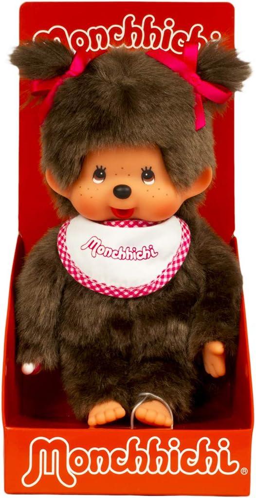 SEKIGUCHI Plush doll Monchhichi Soft knit Girl M size Japan  NEW
