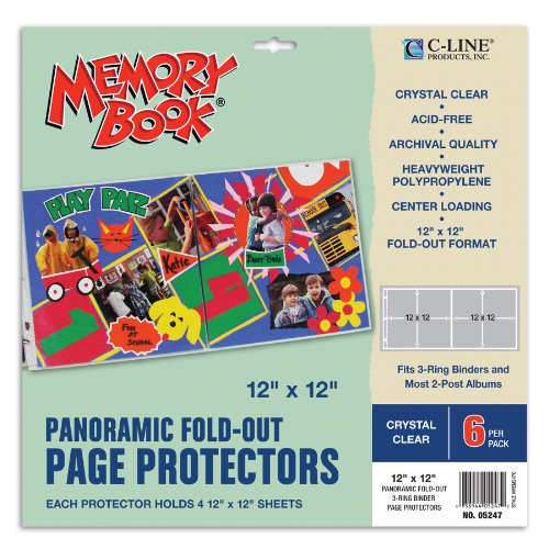 c-line-memory-book-panoramic-fold-out-scrapbook-page-protectors-center-loading-clear-12-x-12-inches-