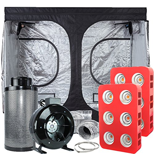 TopoLite Grow Tent Complete Kit Hydroponic Indoor Growing System 2x LED 800W / LED 1200W Grow Light + 8