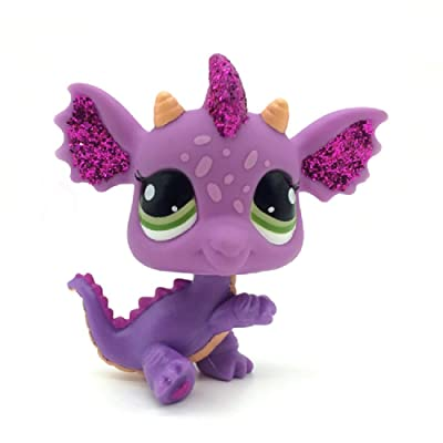 Littlest Pet Shop Purple & Pink Sparkle Glitter Dragon with Green Eyes LPS #2660: Toys & Games