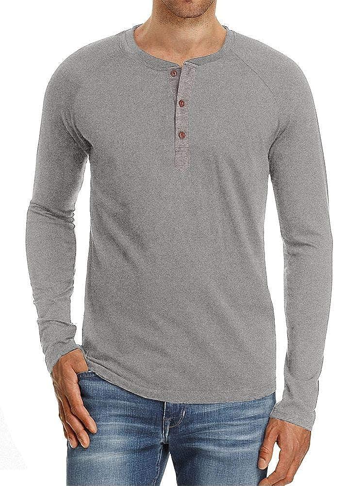 SOIXANTE Mens Casual Slim Fit Short Sleeve Henley T-Shirts Cotton Shirts