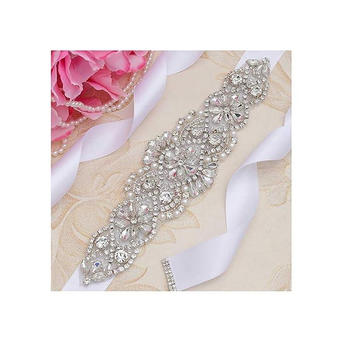 Women's Belts New Design Dress Bridal Belt Crystal Rhinestones Ribbon Silver Rhinestone Wedding Belt And Sash Beads For Wedding Dress Gown