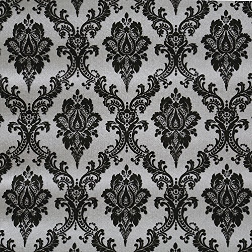 Blooming Wall Black Damasks Peel&Stick Wallpaper Self-Adhesive Wall Mural Wall Decor Contact Paper, 48 Square Ft/Roll ()
