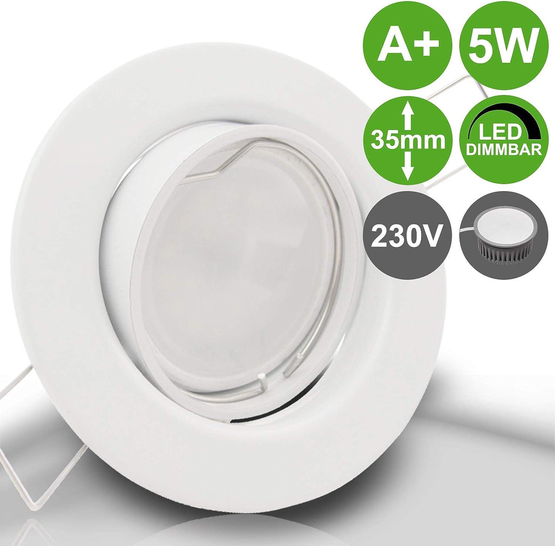 LED Decken Strahler 35mm flach Einbau Lampen Spots dimmbar 230V 5W DECORA Set