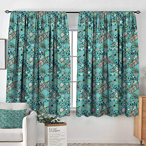 All of better Surfboard Custom Curtains Tropical Composition Cocktail Ice Cream Floral Elements and Lettering Kid Blackout Curtains 63