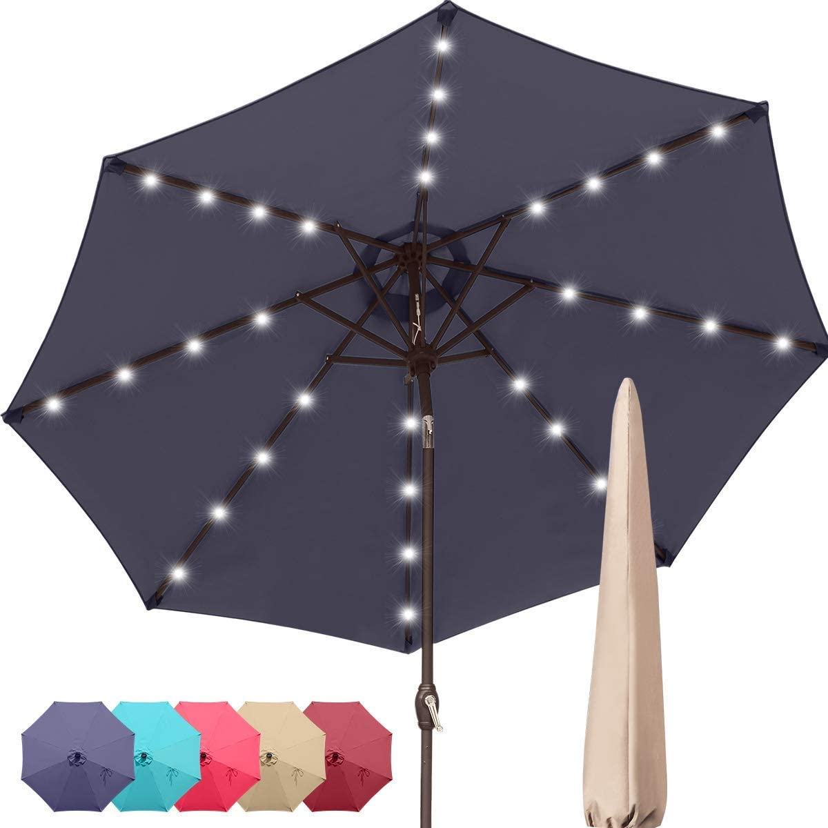 Quictent 9Ft Patio Umbrella 32 Solar LED Lighted Outdoor Garden Table Canopy Market Umbrella Pool Backyard with Ventilation 3 Years Non-Fading Top 8 Ribs 240G Yarn-Dyed Fabric Navy Blue