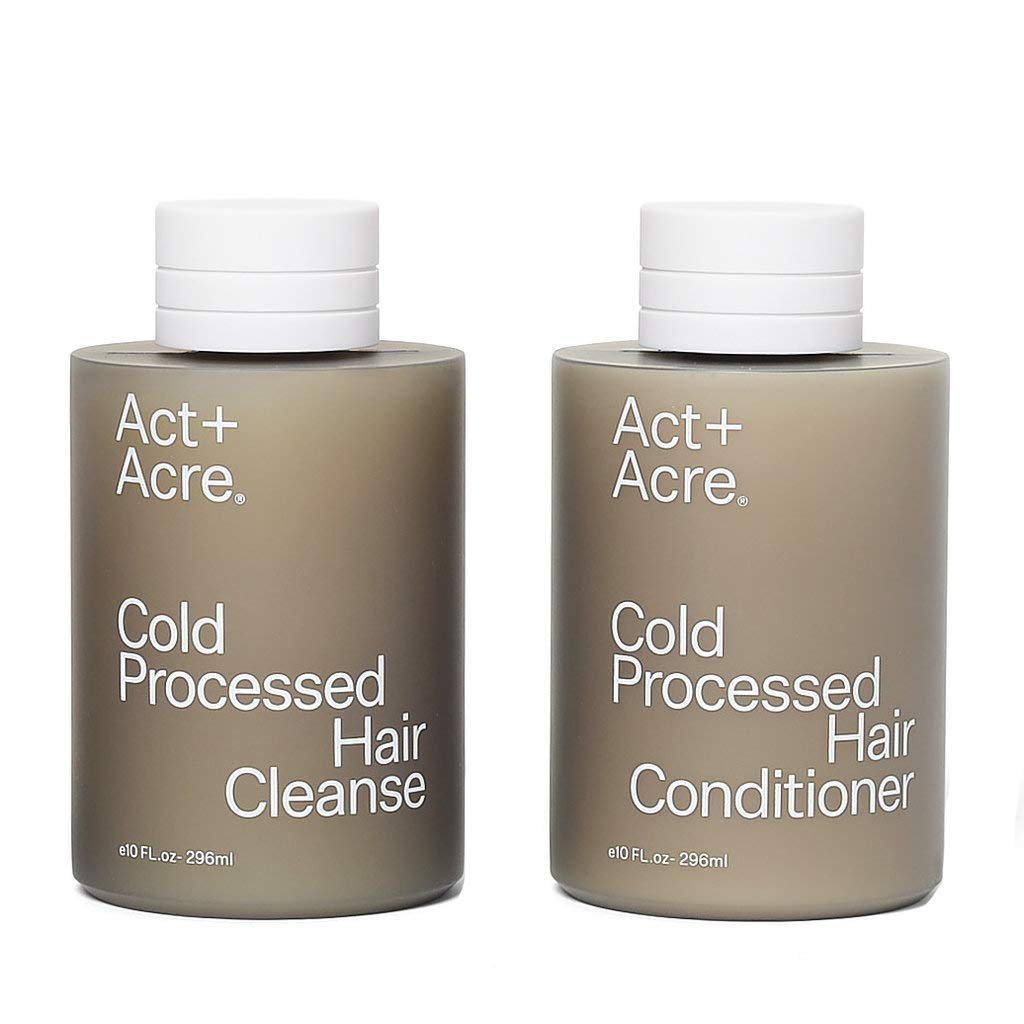 Act+Acre Cold Processed Hair Cleanse and Conditioner Set with Pumps (10 Fl Oz)