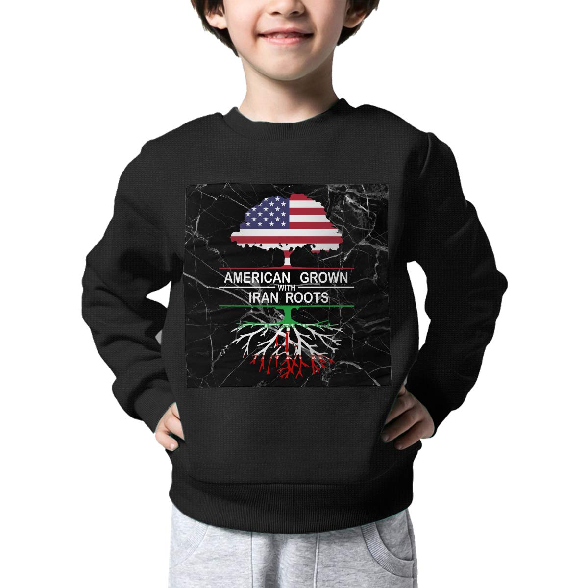 American Grown with Iran Roots Printed Toddler Kids Crew Neck Sweater Long Sleeve Warm Knit Sweatshirt