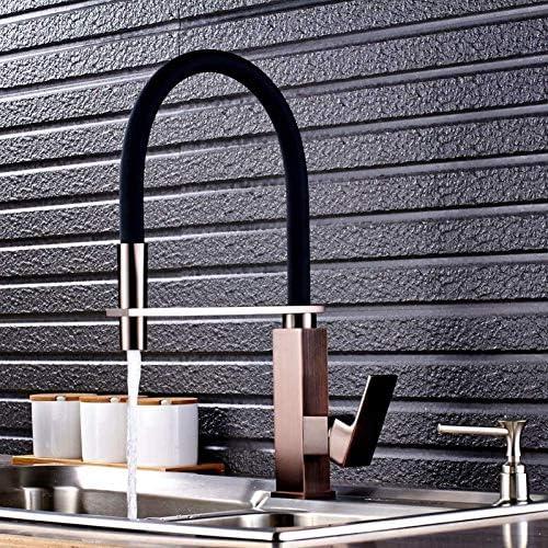 Küchenarmatur geriebene Bronze-Basis mit schwarzem Schlauch Küchenarmatur xuwuhz