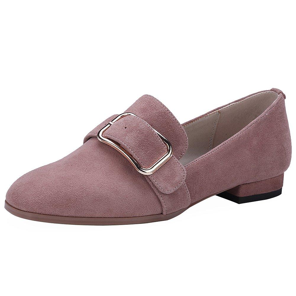 rismart Damen Schnalle Slip auf Chunky Heel Trendy Wildleder Pumps Schuhe35 EU|Pink