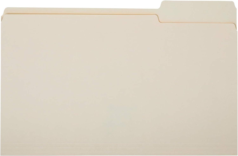 AmazonBasics File Folders - 1/3 Tab, Manila, Legal Size, 100 per Box