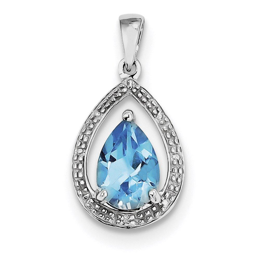 Lex /& Lu Sterling Silver w//Rhodium Diamond /& Light Swiss BT Pendant LAL115023