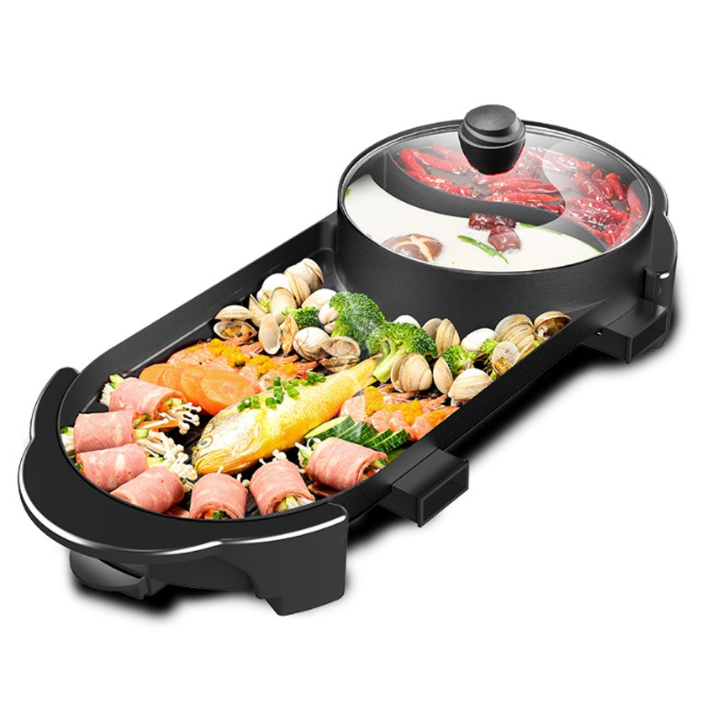 YJIUJIU Multifunction Barbecue Pot Double Pot Electric Hot Pot Electric Grill Thai Barbecue Grill Korean BBQ Hot Pot Electric,L [Energy Class A]