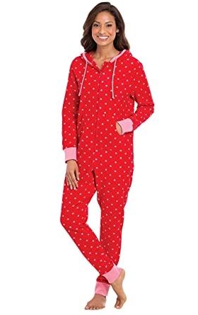 PajamaGram Red & Pink Polka Dot Fleece Hooded Onesie for Women, Red, XSM (2-4)