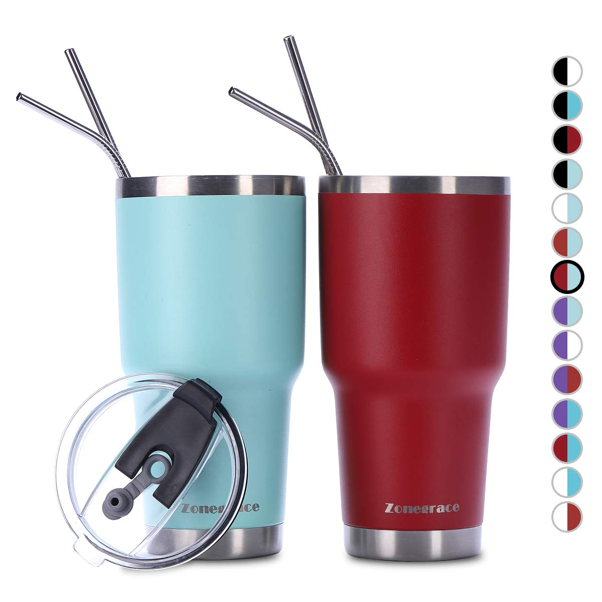 Thermal Cup with Splash Proof Sliding Lid Stainless Steel Vacuum Insulated Double Wall Travel Tumbler Zonegrace 2 Pack 20oz Tumbler with Lid with Straw Durable Insulated Coffee Mug
