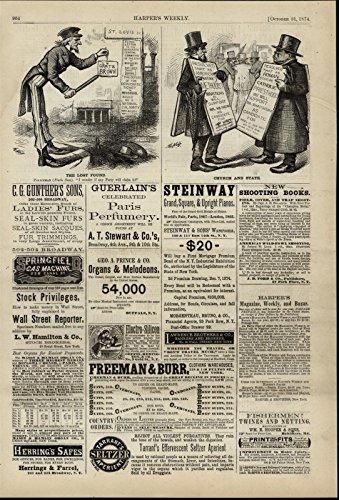 Uncle Sam Gratz Brown Church State Politics 1874 old print w/ Ads for ()