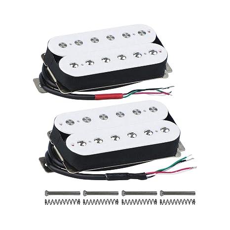 FLEOR High Output Alnico V Guitar Pickup Double Coil Humbucker Pickups Neck  and Bridge Set White