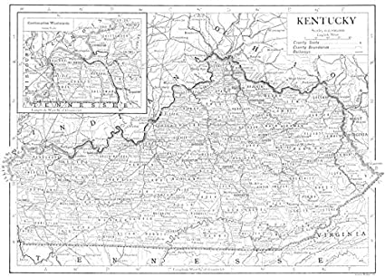 Amazon Com Kentucky State Map Showing Counties 1910 Old Map