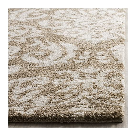 Safavieh Florida Shag Collection SG460-1311 Damask Textured 1.18-inch Thick Area Rug, 4' x 6', Beige/Cream - Virtually non-shedding rug for convenient upkeep Neutral color palette of dark brown and charcoal grey allows for a smooth integration to any décor Polypropylene power-loomed construction allows for durability and its pile height allows for ultimate comfort - living-room-soft-furnishings, living-room, area-rugs - 6190mImfpFL. SS570  -