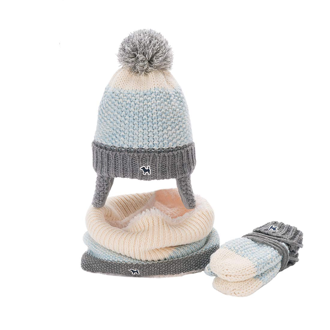 LoveKids Sherpa Lined Printed Hat/Scarf/Glove Knitted Accessory Set for Kids(27022-Light Blue-M)