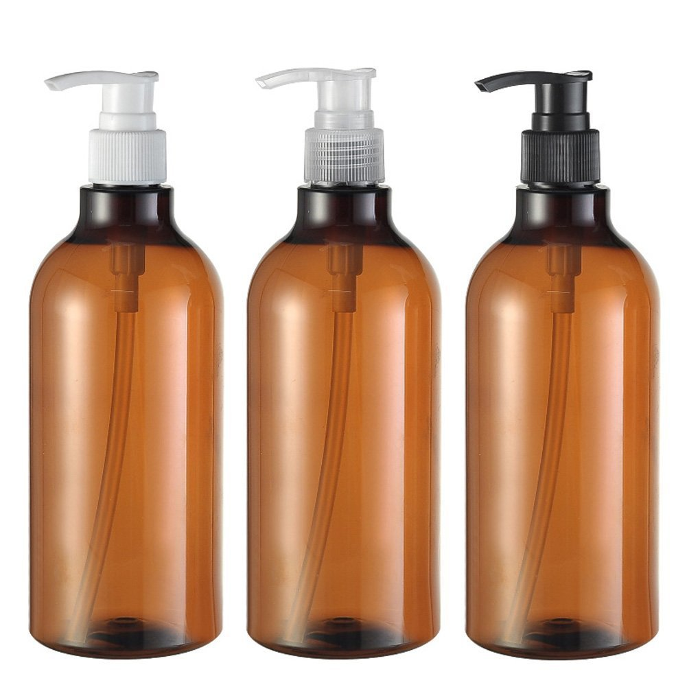 3PCS 500ML/17OZ Brown Refill Leakproof Plastic Press Pump Bottle Jar Pots Packing Storage Holder Container Dispenser for Makeup Cosmetic Bath Shower Gel Toiletries Liquid Shampoo(Pump Color Random) Upstore