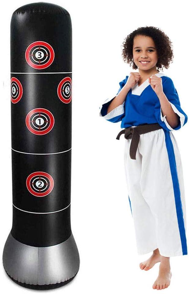 perfecti PVC Sac De Boxe Gonflable Sacs De Frappe Lourds Sac De Frappe Boxe sur Pied Punching Ball Gonflable pour Adulte Enfants Karat/é Fitness MMA