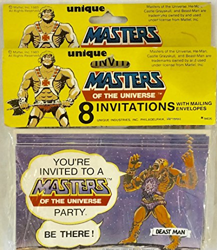 Price comparison product image Vintage Masters of the Universe Party Invitations - 8 Invitations per Package - 2 Packages