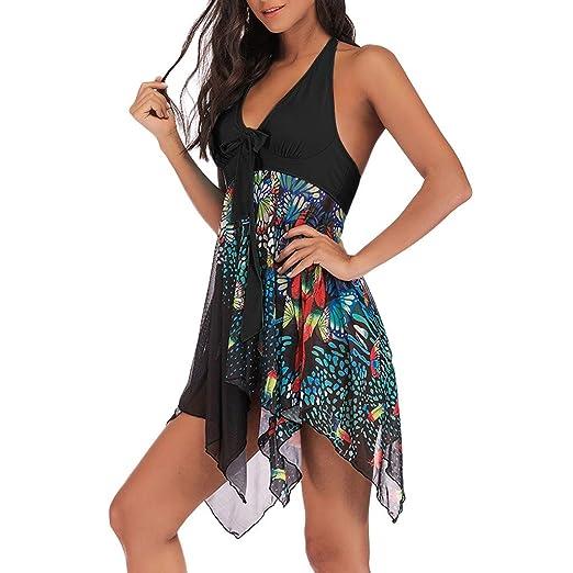 Bfmyxg Stilvoller Badeanzug für Damen Lady Sexy Tankini Floral Print Bademode Zweiteiliger Badeanzug Asymmetrisches Badekleid