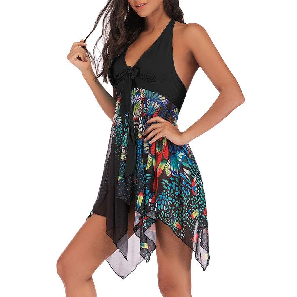 IAMUP Women Tankini Floral Print Swimwear Two Piece Print Bathing Asymmetric Picnic Colorful Swimdress Black