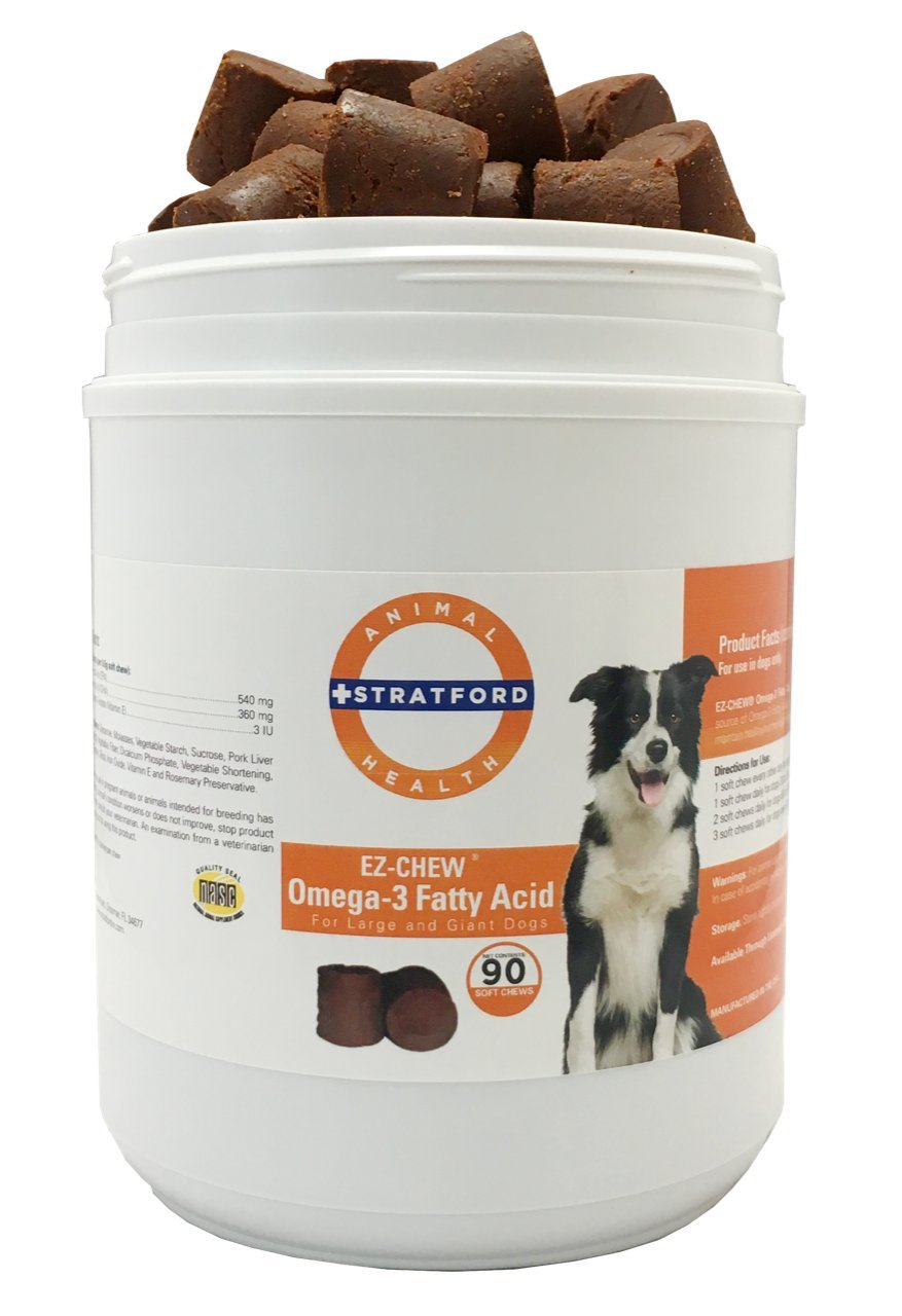 Stratford Pharmaceuticals EZ Chew Omega 3 Fatty Acid Soft Chew Max Strength - Dog Omega 3 Supplement - Soft Chew Treats with Fish Oil for Dogs - Large and Giant Dogs - 90 Soft Chews