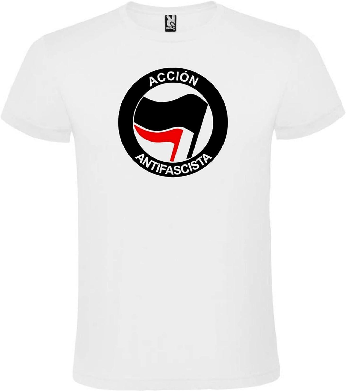ROLY Camiseta Blanca con Logotipo de Acción Antifascista Hombre 100% Algodón Tallas S M L XL XXL Mangas Cortas: Amazon.es: Ropa y accesorios