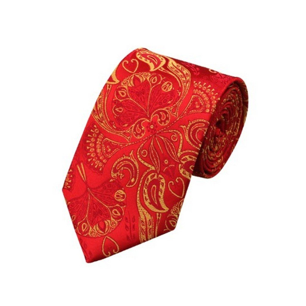 Red Yellow Paisley Classic Silk Necktie Tie Hanky and Cufflinks For Men