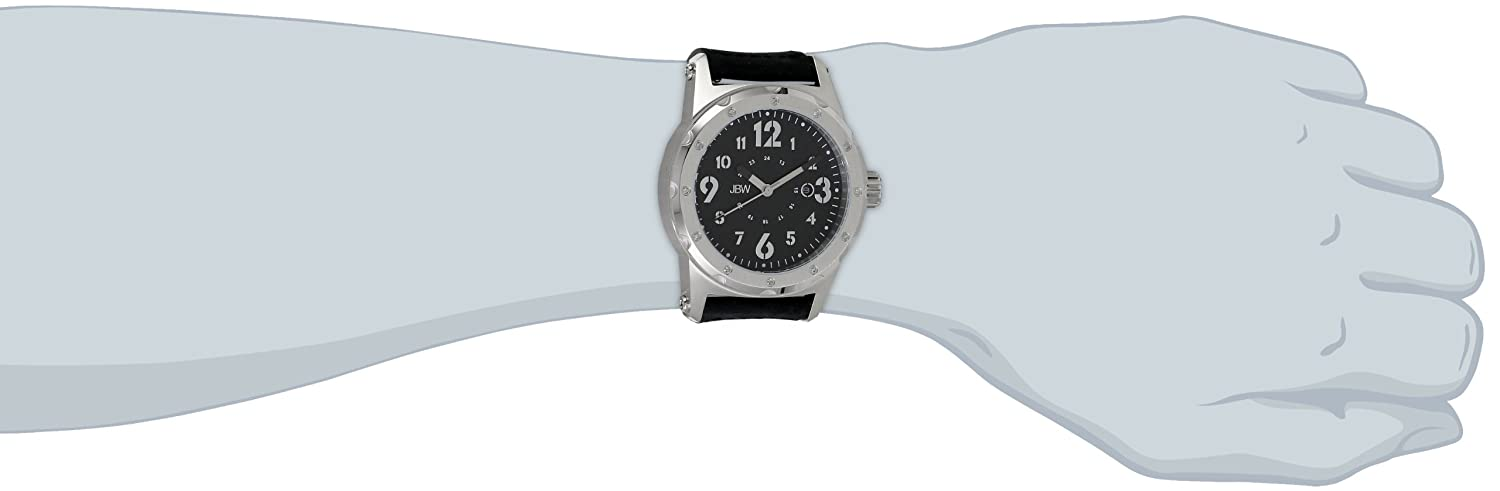 Amazon.com: JBW Mens J6284A Stainless Steel Watch with Black Suede Leather Band: Watches