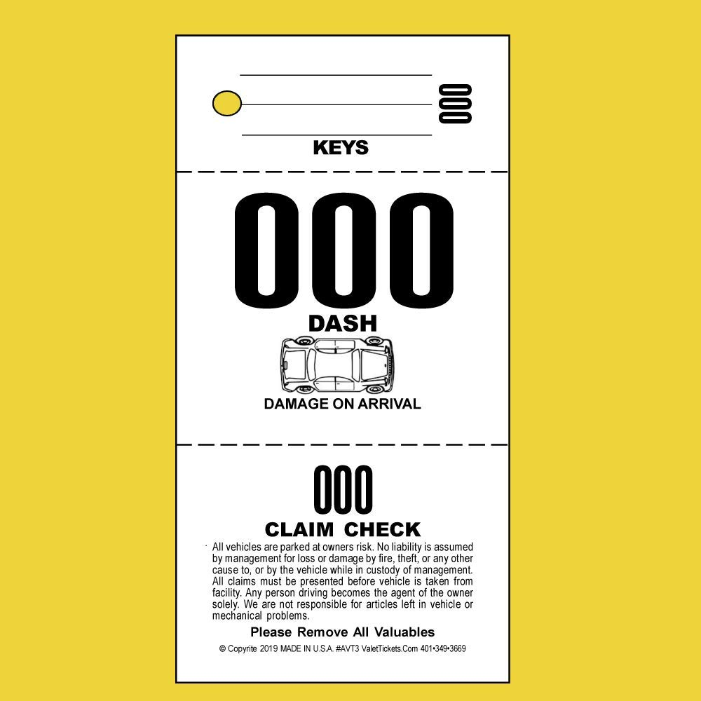 (2,000 Tickets) 3 Part Valet Parking Tickets, Valet Tags, 110lb Card Stock White, Car diagram on front ... by Valet Tickets .Com
