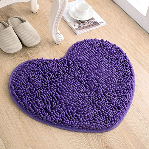 (KEPSWET Simple Heart-shaped Design Area Rug Chenille Bedroom Rug Beautiful Lavender Purple Livingroom Non-slip Washable Bathroom Mats Kitchen Carpet (1'6x2'0, purple))