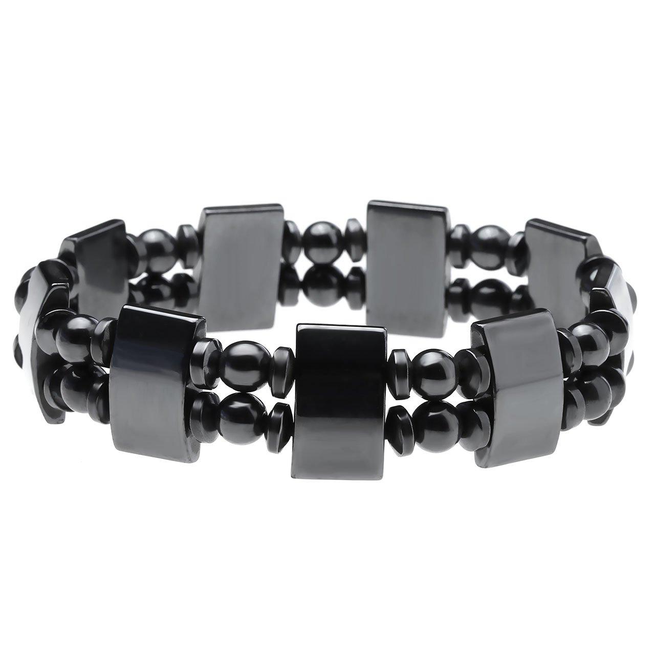 Top Plaza 2pcs/set Men's Women's Hematite Metal Healing Energy Magnetic Therapy Bracelets, 6.5 Inches
