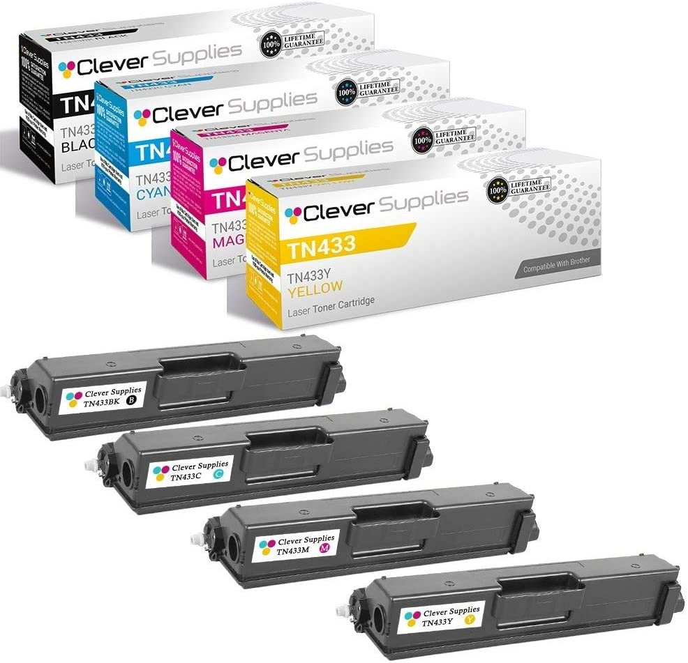 Clever Supplies Compatible Toner Cartridges Replacement for TN-433 (Black/Cyan/Magenta/Yellow,4-Packs)