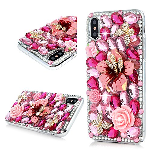 iPhone X Case, iPhone Xs Case, Maviss Diary Full Edge Protective Plastic Case, 3D Handmade Crystal Clear Bling Full Diamonds Colorful Pink Shiny Rhinestone Peony Rose Florals Hard PC Cover