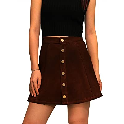 ROVLET Women's Autumn Button Down Open Front Faux Suede High Waist A-line Mini Skirt at Women's Clothing store