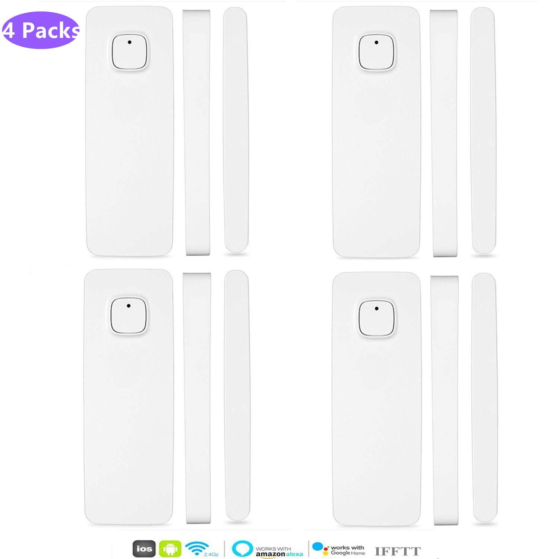 3 Packs El detector de sensor de im/án de puerta de ventana inteligente funciona con Alexa Google Home IFTTT para el sistema de alarma de seguridad antirrobo