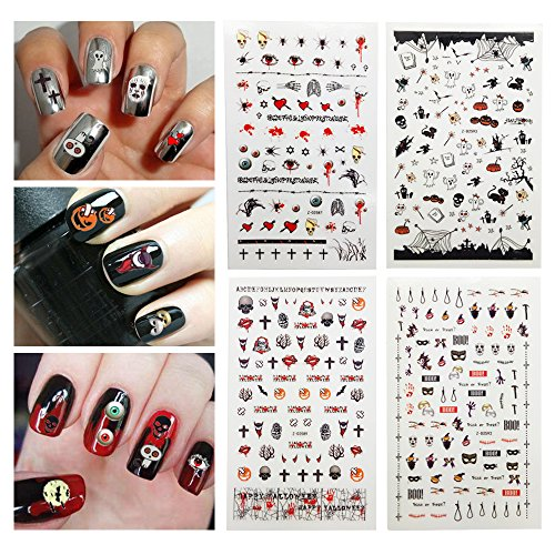 Fanme Halloween Nail Stickers 3D Nail Art Tattoo Decals DIY Nail Art Decoration Self-adhesive Tip Stickers 4Sheets (Halloween new)]()
