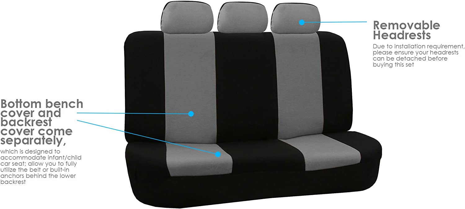 Universal Fit for Cars 7 Passenger Set Black Trucks /& SUVs FH Group FB050217 Flat Cloth Seat Covers