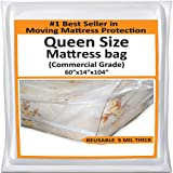 Mattress Bags for Moving Queen -Mattress Storage Bag - 5 Mil Heavy-Duty - Thick Plastic Bed Mattress Cover Protector for Moving Queen - Reusable Bed Moving Supplies